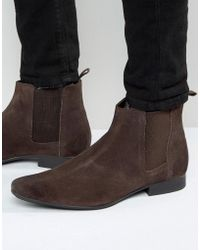 Frank Wright - Chelsea Boots In Brown Suede - Lyst
