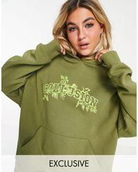 Collusion Sudadera con capucha extragrande con diseño - Verde
