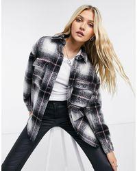 Pull&Bear - Куртка-рубашка Навыпуск В Клетку С Розовыми Полосами -серый - Lyst
