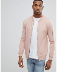 ASOS | Muscle Fit Jersey Bomber Jacket In Pink With Ma1 Pocket | Lyst