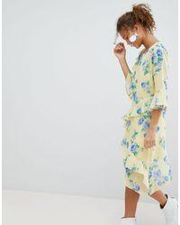 Miss Selfridge Floral Print Ruffle Midi Dress - Yellow
