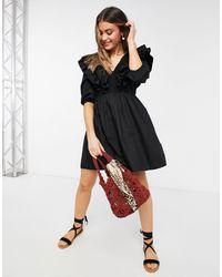 New Look Short-sleeved Ruffle Poplin Mini Dress - Black
