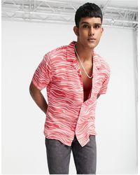 Levi's - Розовая Рубашка С Короткими Рукавами, Отложным Воротником И Волнистым Принтом Cubano-розовый Цвет - Lyst