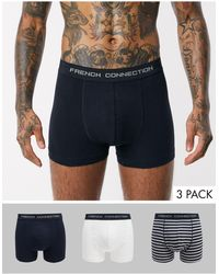 French Connection Organic Cotton 3 Pack Boxers - Blue