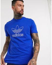 adidas Originals T-shirt con logo a trifoglio blu