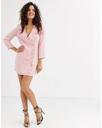 UNIQUE21 Shoulder Ruffle Wrap Dress-pink