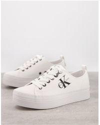 Calvin Klein Белые Кроссовки На Плоской Подошве Jeans Zolah-белый