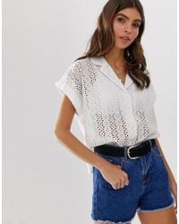 ASOS Bowling Shirt In Broderie - White