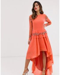 LACE & BEADS - Embroidered High Low Dress In Coral - Lyst