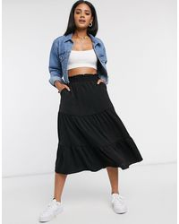 Monki Sunny Washed Satin Tiered Midi Skirt - Black