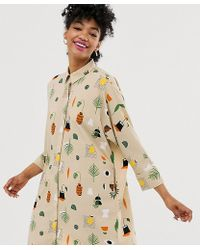 Monki Robe chemise courte à imprimé abstrait - Beige - Neutre
