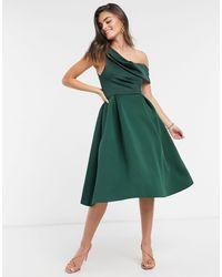 ASOS Зеленое Платье Миди Для Выпускного С Драпировкой - Зеленый