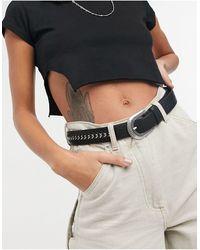 TOPSHOP Chain Detail Western Belt - Black
