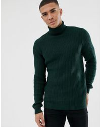 New Look - Textured Knit Roll Neck Jumper In Green - Lyst