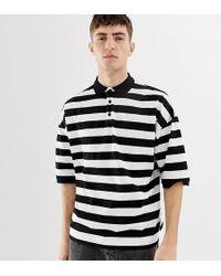 Collusion Oversized Stripe Polo In Black And White