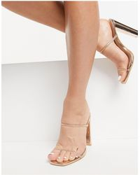 Glamorous Diamante Detail Mules With Square Toe - Metallic