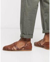 ASOS Светло-коричневые Кожаные Плетеные Сандалии - Коричневый