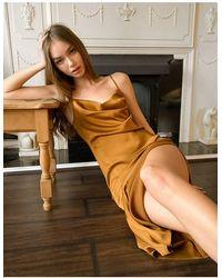 Stradivarius Атласное Платье Миди В Коричневом Цвете -коричневый - Многоцветный