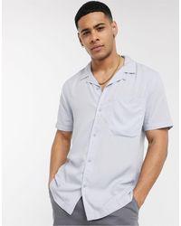TOPMAN - Голубая Рубашка С Короткими Рукавами И Отложным Воротником -синий - Lyst