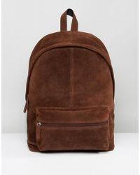 ASOS - Backpack In Brown Suede - Lyst