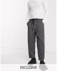 Reclaimed (vintage) Pantaloni eleganti con fondo ampio - Grigio