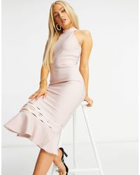 Lipsy Bandage Peplum Hem Dress - Pink