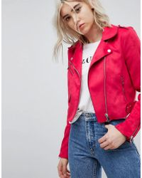 ONLY - Suede Look Biker Jacket - Lyst