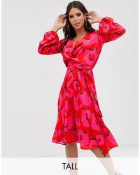 Flounce London Satin Wrap Midi Dress - Pink