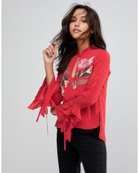 Millie Mackintosh - Rose Embroidery Flared Blouse - Lyst