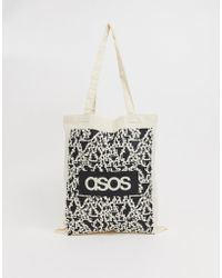 ASOS Tote Bag In Beige With Noise Print And Brands List - Natural