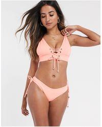 River Island Side Lace Up Bikini Bottom - Orange