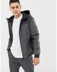 Esprit Blouson Jacket With Hood In Gray Color Block - Black