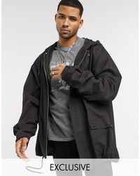 Reclaimed (vintage) Oversized Cotton Parker Jacket - Black