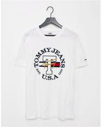 Tommy Hilfiger Белая Футболка С Круглым Логотипом Timeless-белый