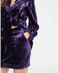 & Other Stories Crushed Velvet Mini Skirt - Purple