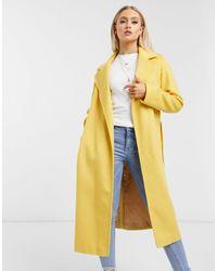 Helene Berman Желтое Пальто Из Шерстяной Смеси С Запахом -желтый