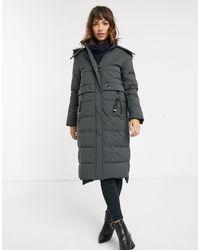 Esprit Midi Padded Coat With Faux Fur Hood - Gray