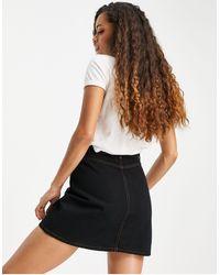 ASOS Petite Denim Button Front Skirt - Black