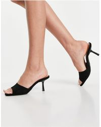 New Look Suedette Square Toe Heeled Mules - Black