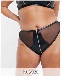 Savage x Fenty Plus Size – Locket Down – e Vinyl-Bikinihose mit Reißverschluss und hohem Beinausschnitt - Schwarz