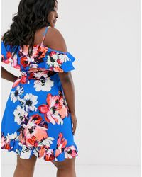 Simply Be Cold Shoulder Swing Dress - Blue