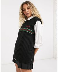 Kickers Knitted Sweater Vest With Vintage Stripe - Blue