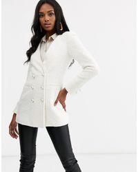 ASOS Longline Boucle Blazer - White