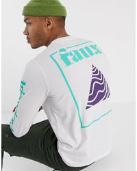 Friend or Faux Trig Back Print Graphic Long Sleeve T-shirt - White