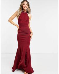 True Violet Vestido largo color vino con cuello halter y cola - Rojo