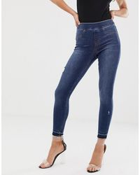 Spanx Shape And Lift Distressed Skinny Jeans - Blue