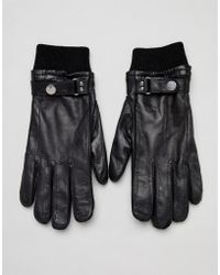 PS by Paul Smith - Ribbed Cuff Wool Lined Leather Gloves In Black - Lyst