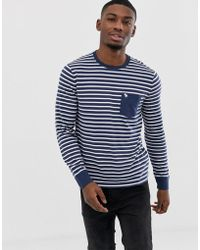 Abercrombie & Fitch - Stripe Icon Logo Pocket Long Sleeve Top In Navy/white - Lyst