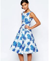 ASOS - Blue Rose Folded Midi Prom Dress - Lyst
