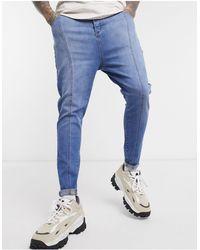 SIKSILK Jean skinny avec surpiqûres sur le devant - clair - Bleu